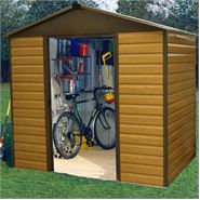 8 x 6 86WGL Yardmaster Wood Grain Apex Metal Shed